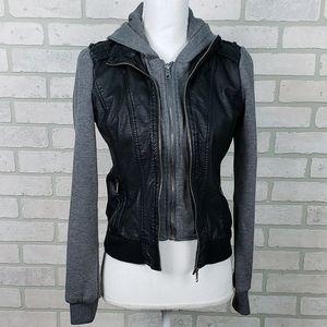 LA Hearts Layered Faux Leather Jacket Black/Gray S